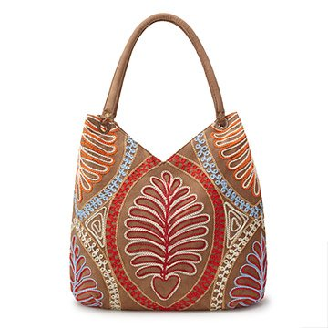 Fern Frond Hand Embroidered Shoulder Bag