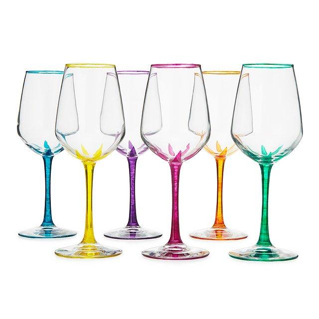 Flower Stemmed Wine Glasses Set Of 6 Hand Painted Wine Glasses