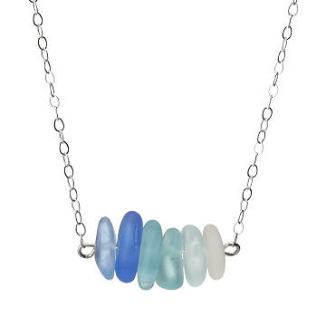 Shades of Blue Sea Glass Necklace