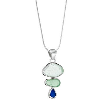Sea Glass Trio Bezel Necklace