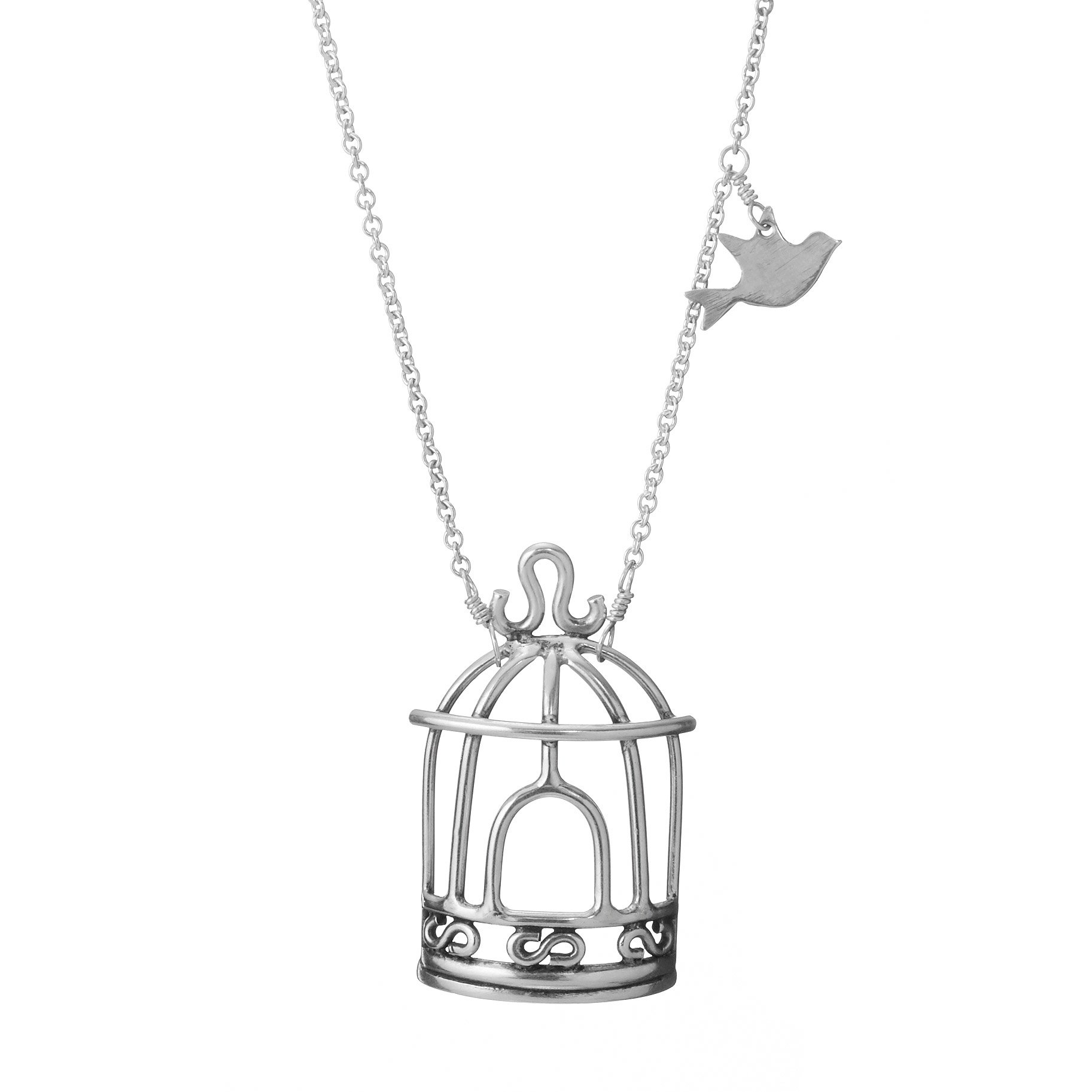 tiny pin bird sterling necklace silver