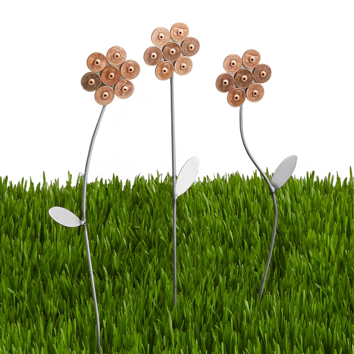 Lucky Penny Garden Flowers - Set of 3 | outdoor decor, metal garden ...