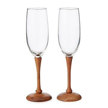 Wood Stem Champagne Flutes - Set of 2