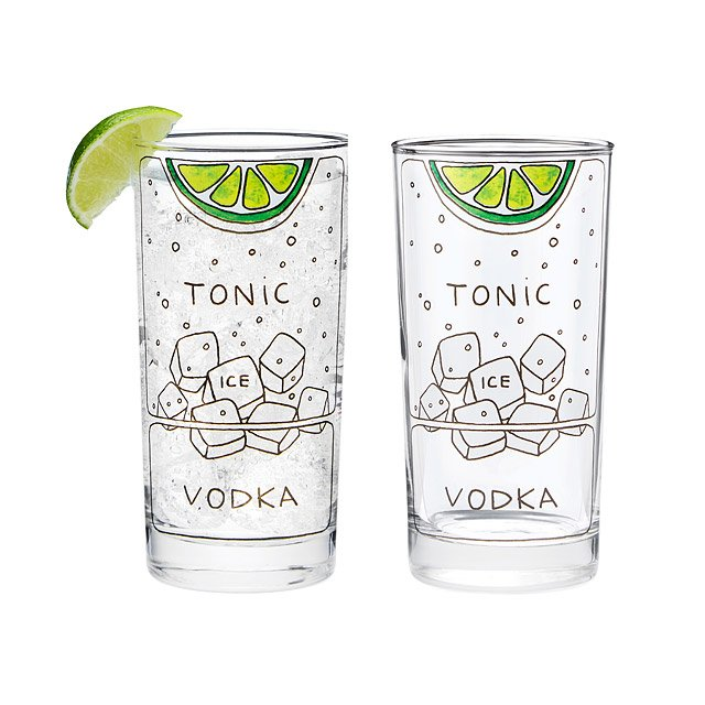 Vodka Tonic Diagram Glassware - Set of 2