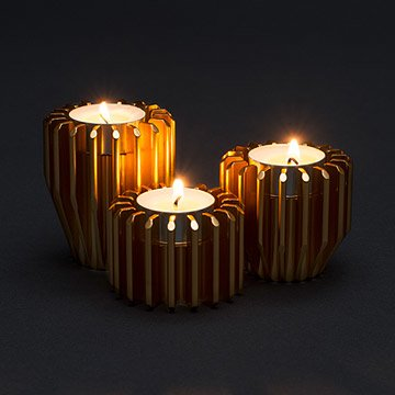 Rotating Gear Candle Holders - Set of 3