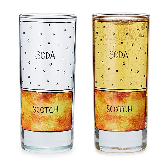 Scotch & Soda Diagram Glassware - Set of 2
