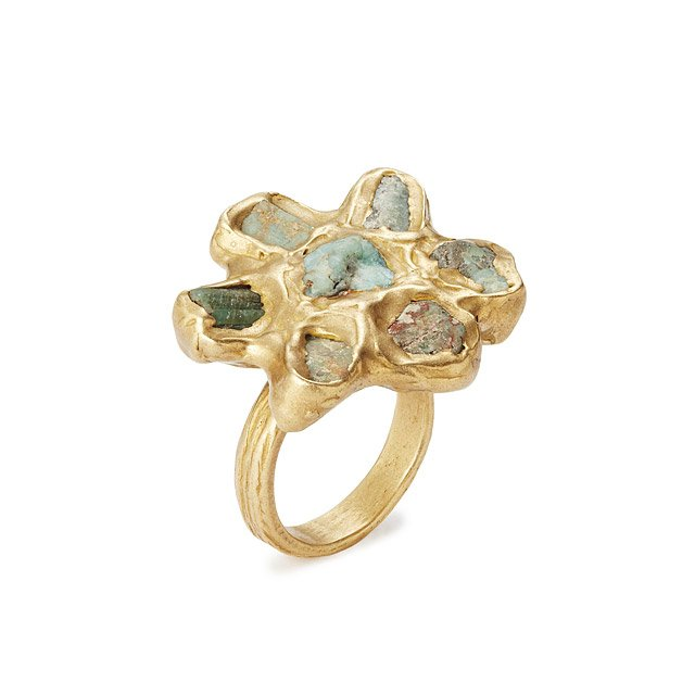 Raw Emerald Flower Ring