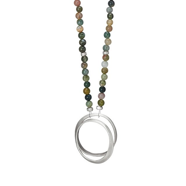Jasper and Sterling Infinity Necklace