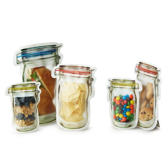 Reusable Hinged Jar Zipper Bags - Set of 9