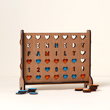 customizable personalized hearts four across game