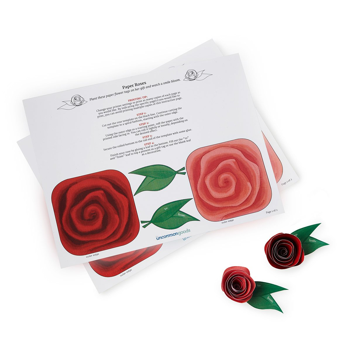 Printable Paper Roses Floral Gift Tag Template Uncommongoods
