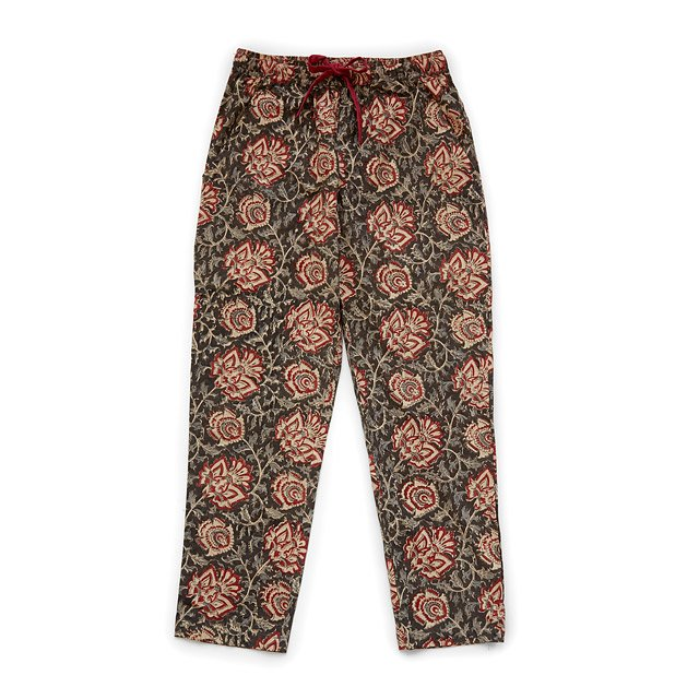 Red Flower Hand Block Print PJ Pants
