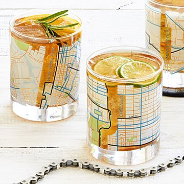 City Bike Map Glasses - Set of 2