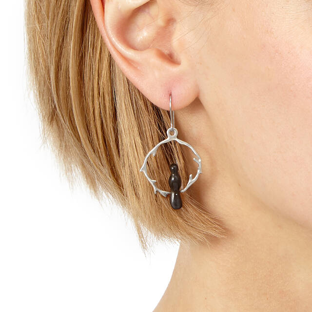 Sterling Silver Circle Branch Earrings