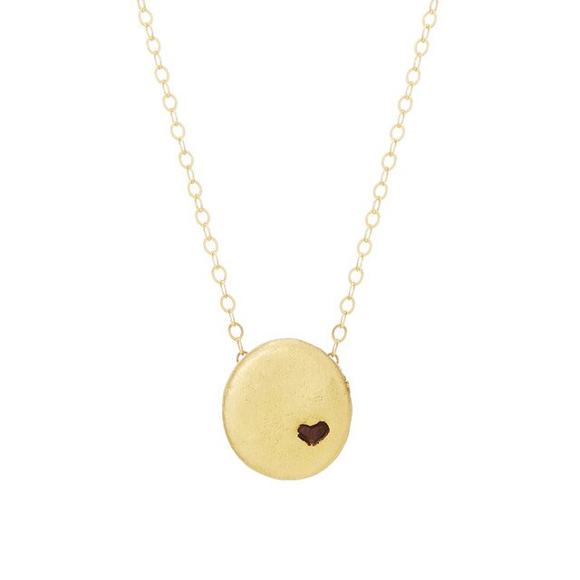 Gold Pebble Heart Necklace