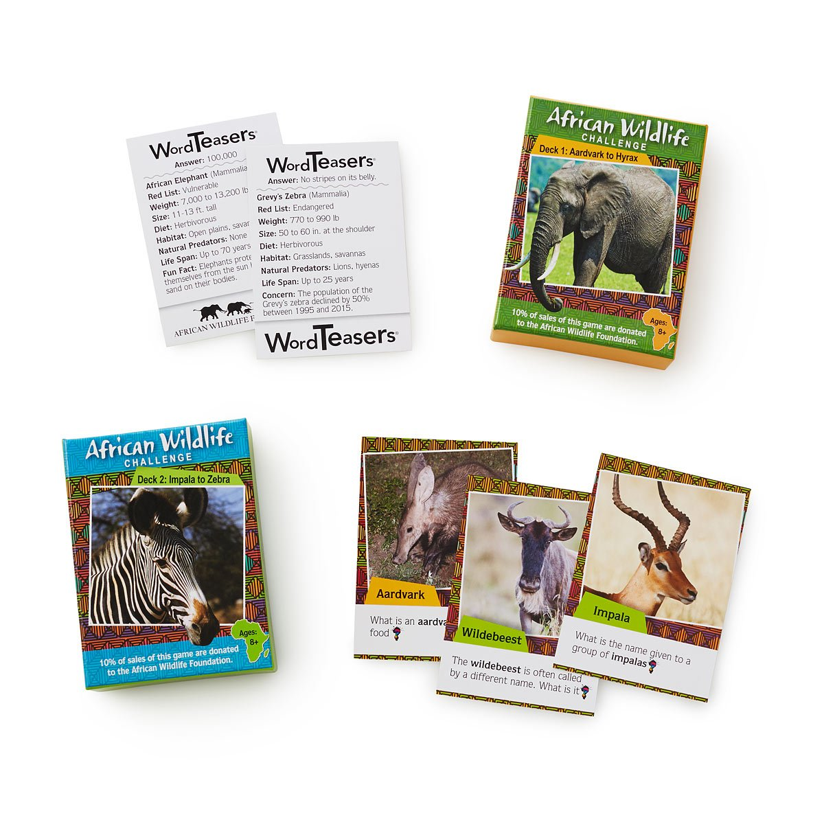 African Wildlife Trivia Cards | animal games | UncommonGoods