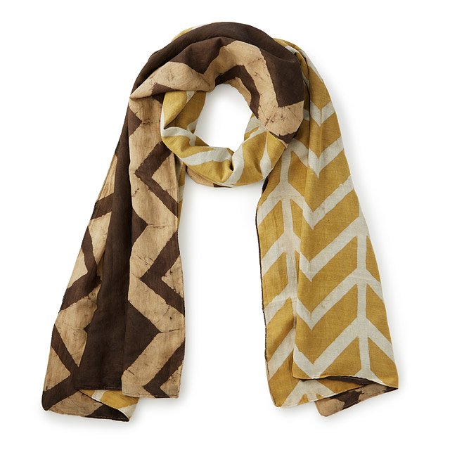 Slanted Chevron Reversible Block Print Scarf