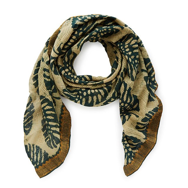 Patta Leaf Whisper Weave Block Print Scarf