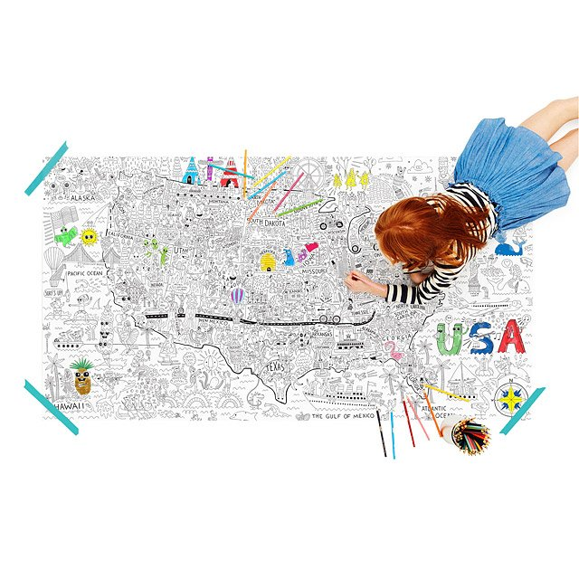 Poster Of Usa Map.Usa Jumbo Coloring Poster Kids Usa Coloring Poster Uncommongoods