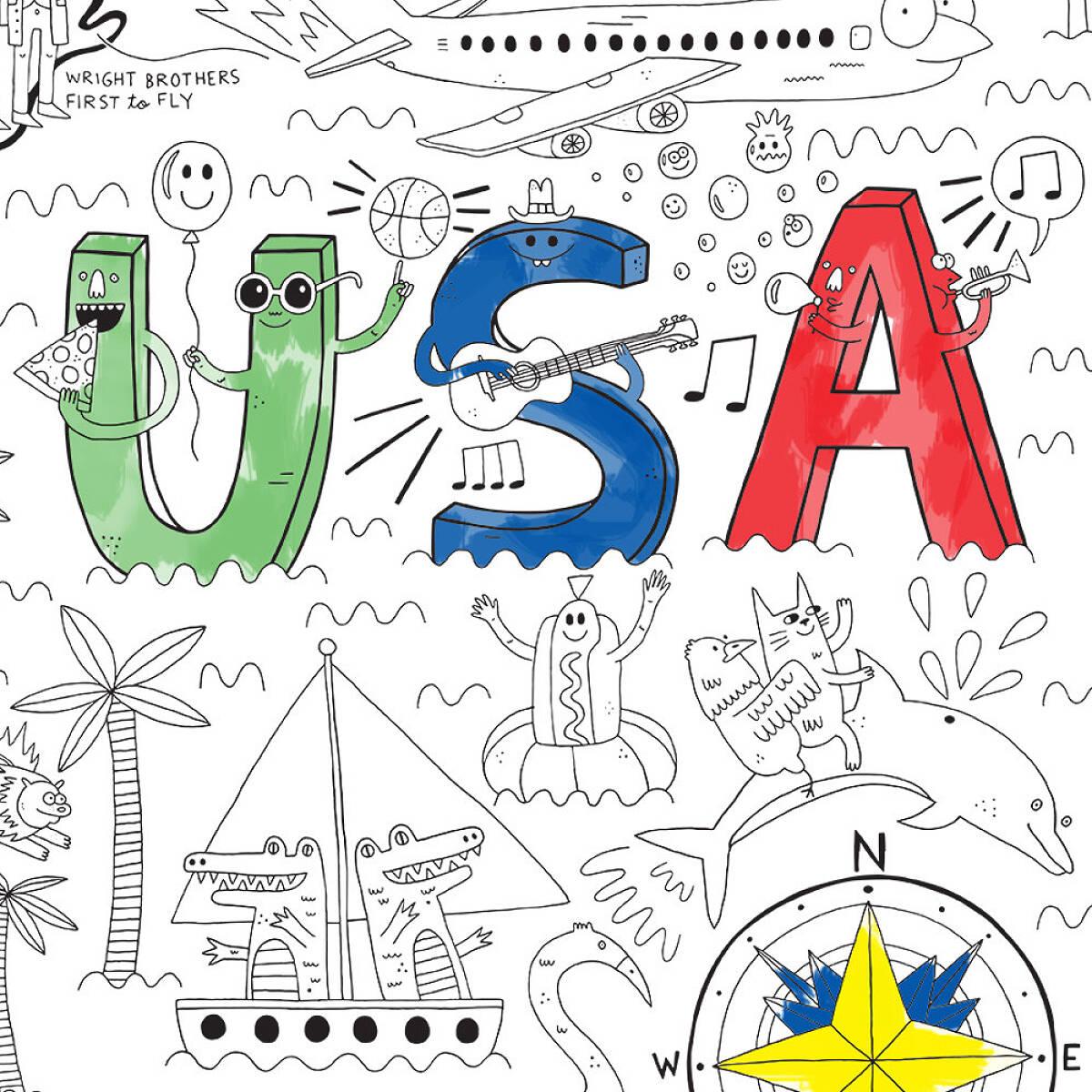 USA Jumbo Coloring Poster | Kids USA Coloring Poster | UncommonGoods
