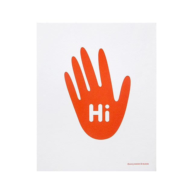 Hi Five Letterpress Print