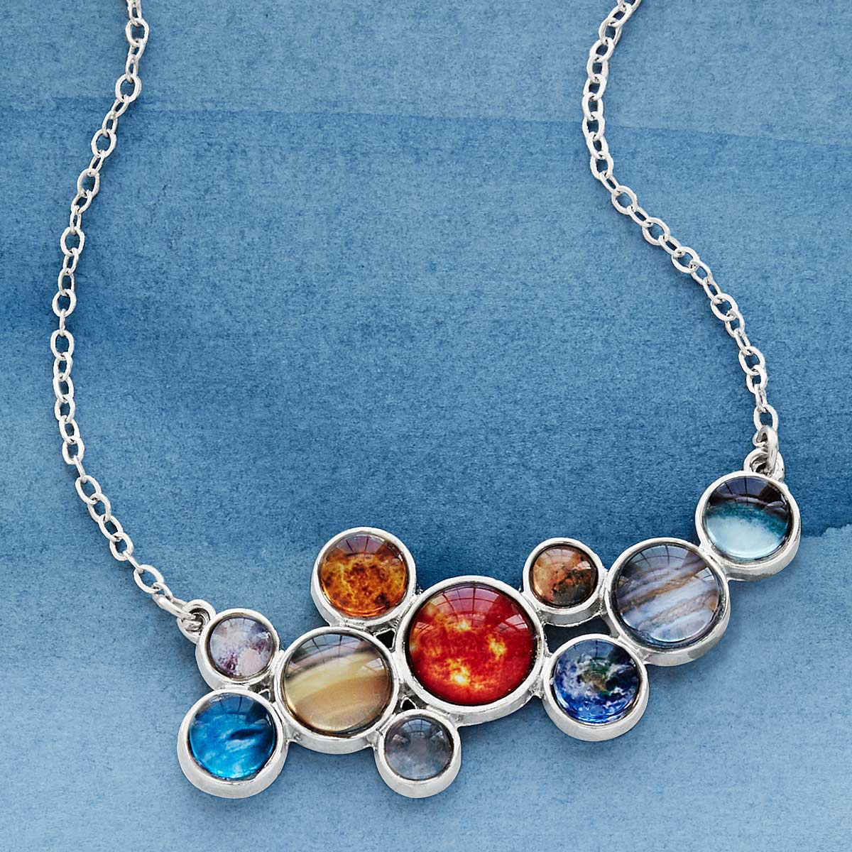 Solar system bubble bib necklace space jewelry planets solar system bubble bib necklace mozeypictures Gallery
