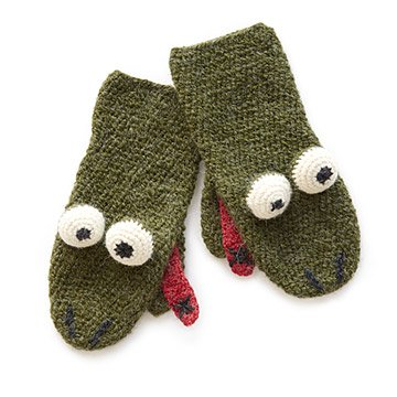 Frog Hand Crocheted Mittens