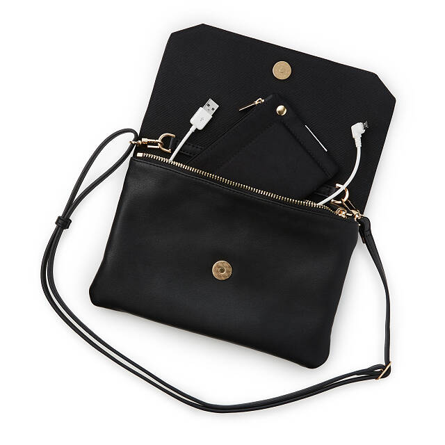 Smartphone Charging Crossbody Clutch - Black
