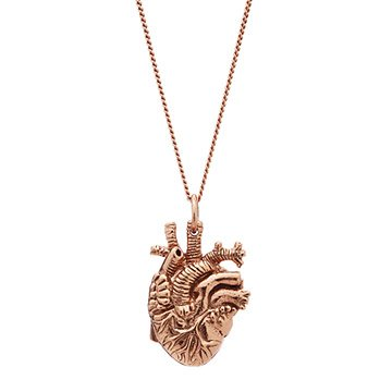 Tiny Rose Gold Anatomical Heart Pendant