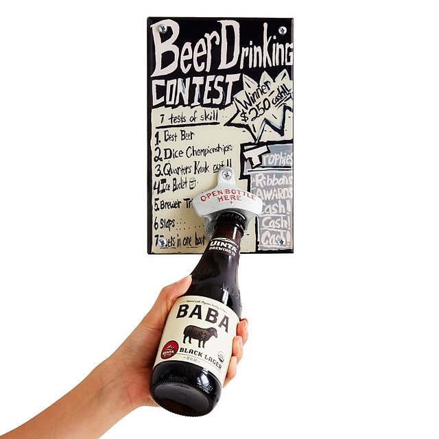 Beer Drinking Contest Mounted Bottle Opener