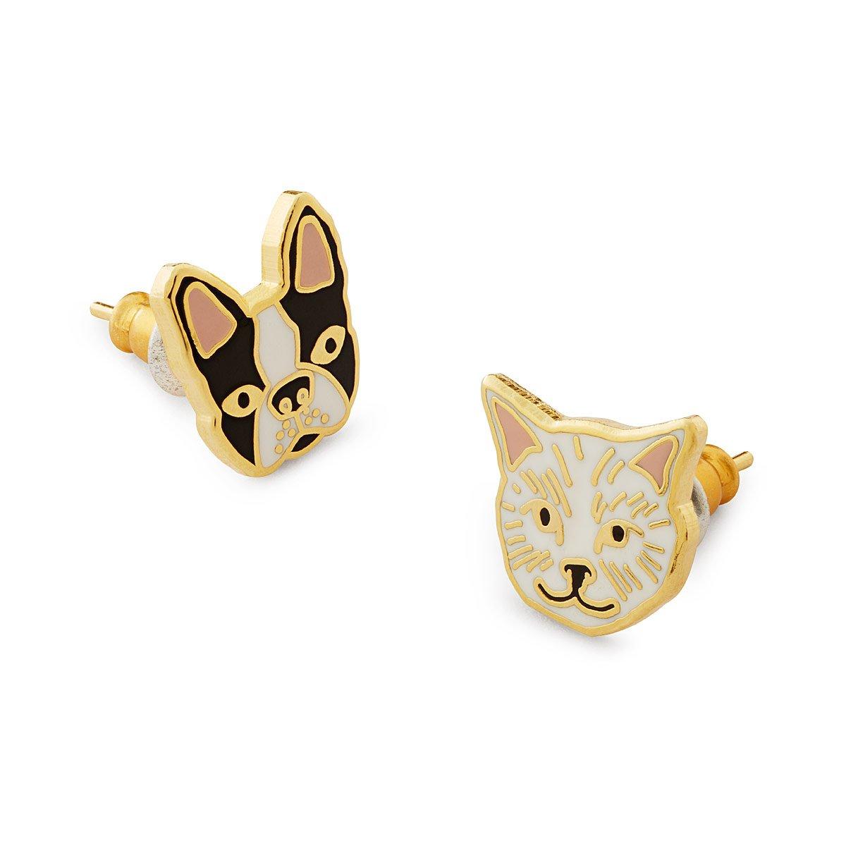 Cat & Dog Mismatched Earrings | enameled earrings, dog earrings, cat ...