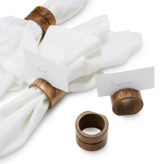 Mango Wood Place Holder Napkin Rings - Set of 4