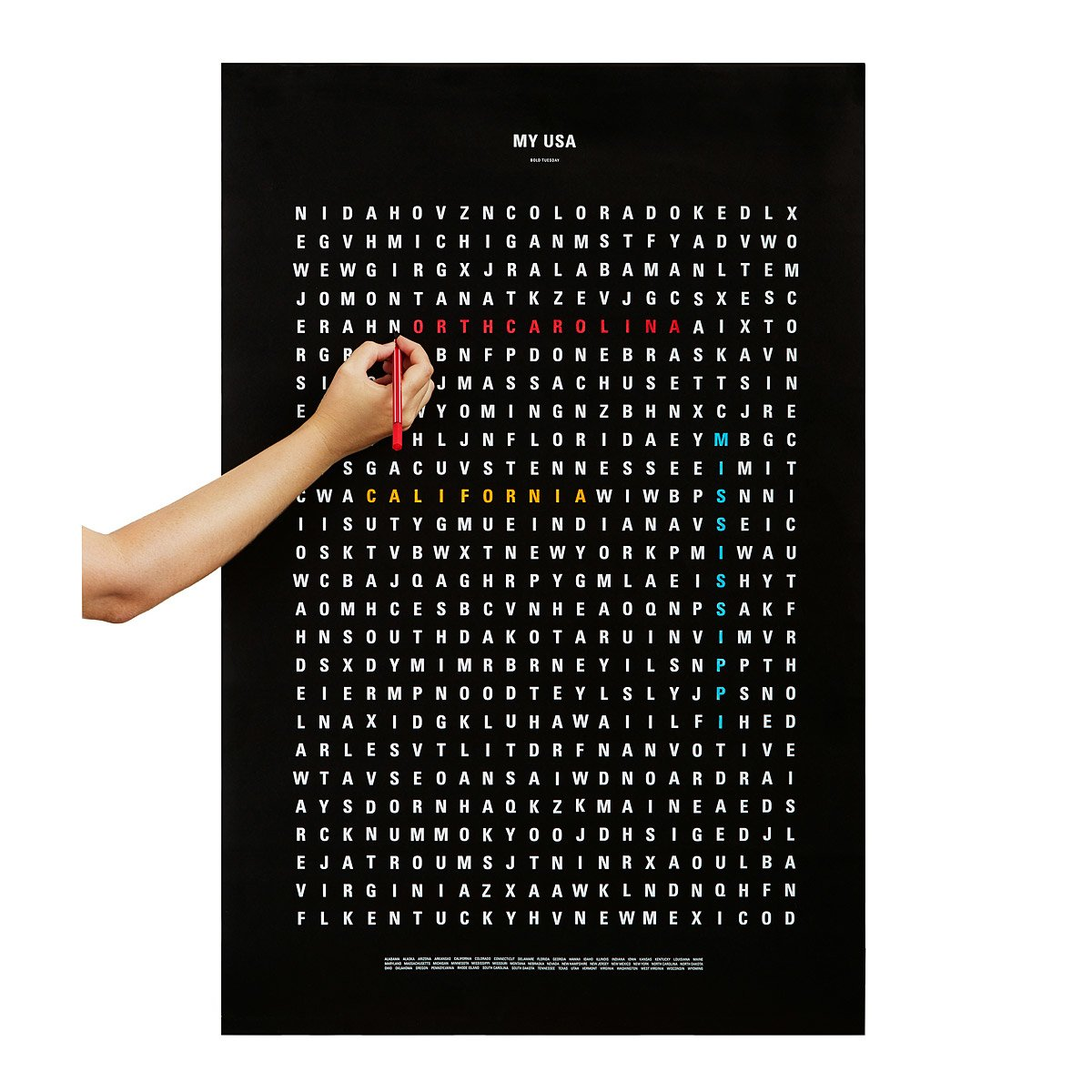 USA Word Search Travel Poster  crossword puzzles geography