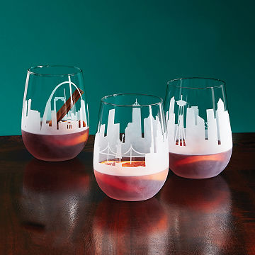 Etched Skyline Wine Glasses - Set of 2