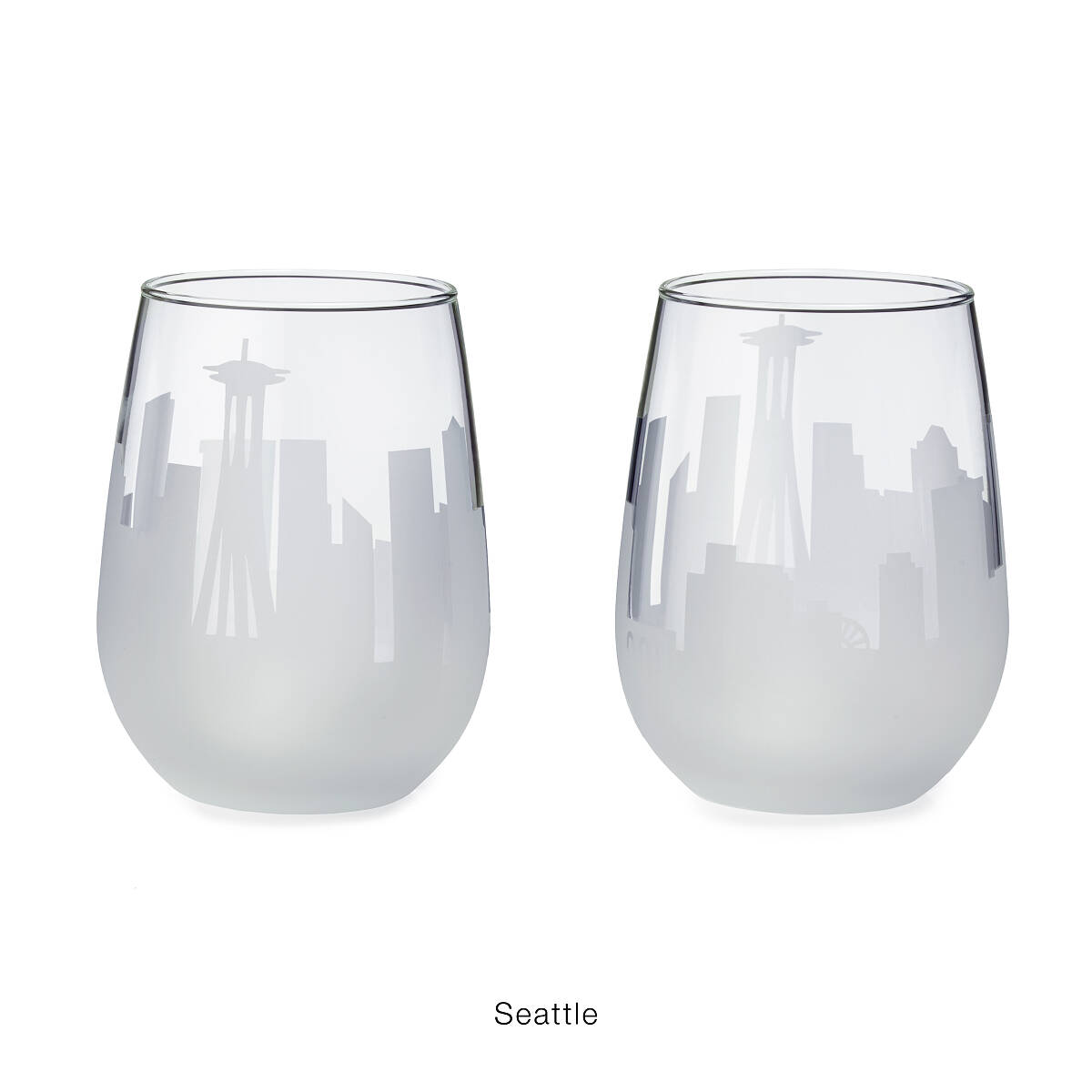 Etched Skyline Wine Glasses Set of 2 stemless wine glasses