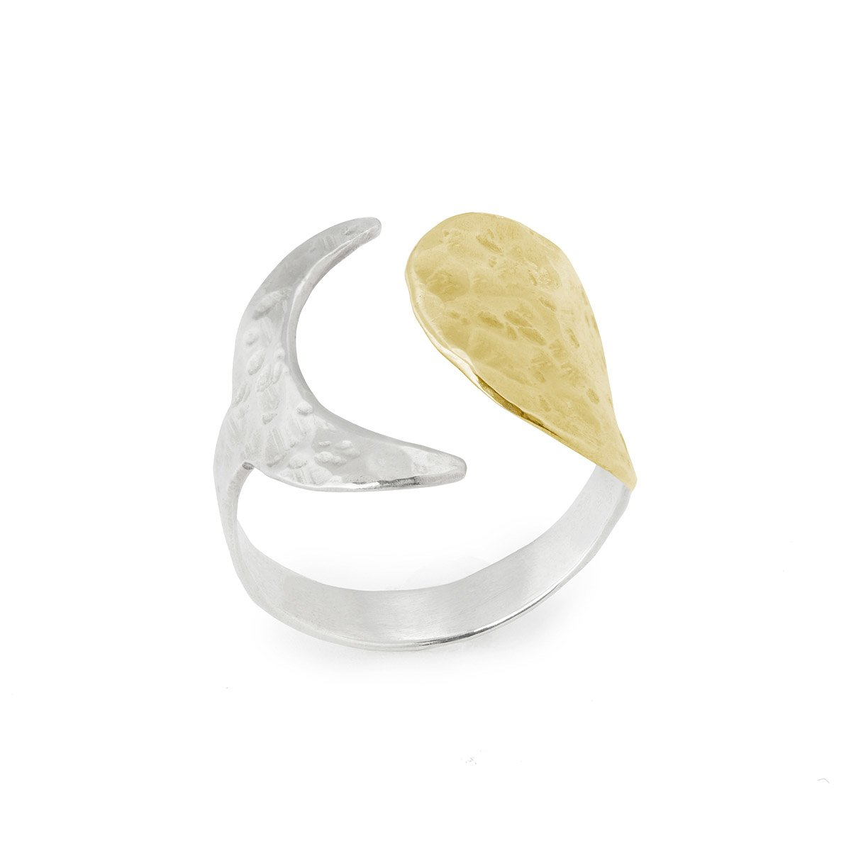 sun moon wrap ring mixed metal jewelry hammered ring uncommongoods