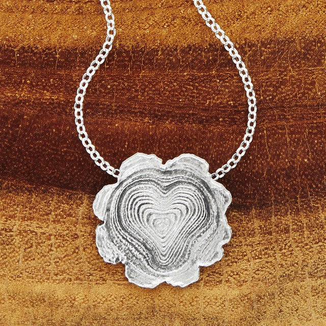Sterling Silver Faux Bois Heart Necklace