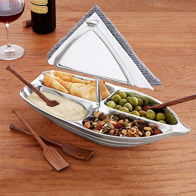 Rowboat Serving Bowl with Napkin Holder