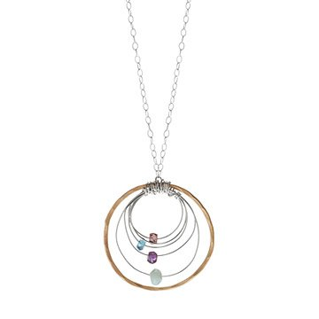 Gemstone Hoop Necklace