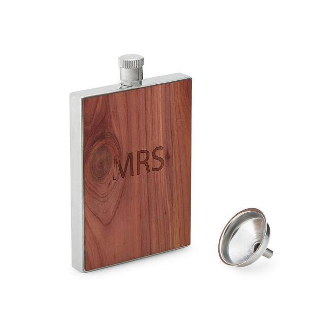 Personalized Cedar Wood Flask with Funnel