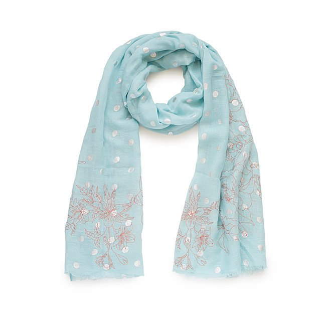 Sky Blue Silver Foil Dotted Scarf