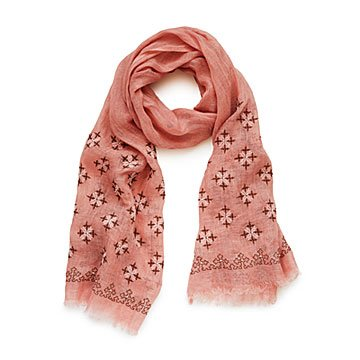 Embroidered Blush Scarf