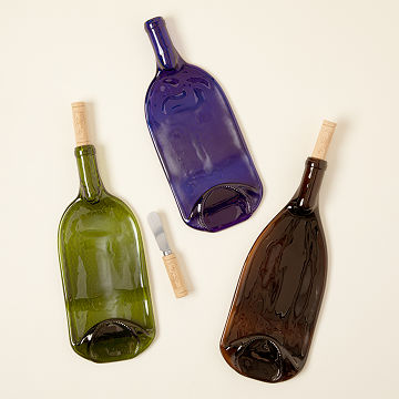 Recycled Wine Bottle Platter with Spreader & 2018 Serving Dishes Unique Serving Bowls | UncommonGoods