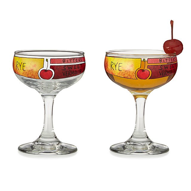 Awesome Manhattan Cocktail Diagram Glassware   Set Of 2