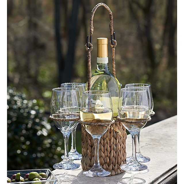 Woven Wine Tote with Glasses