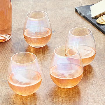 Iridescent Stemless Wine Glass Set