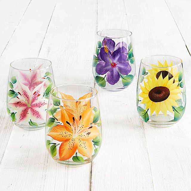 Floral Stemless Wine Glass Set