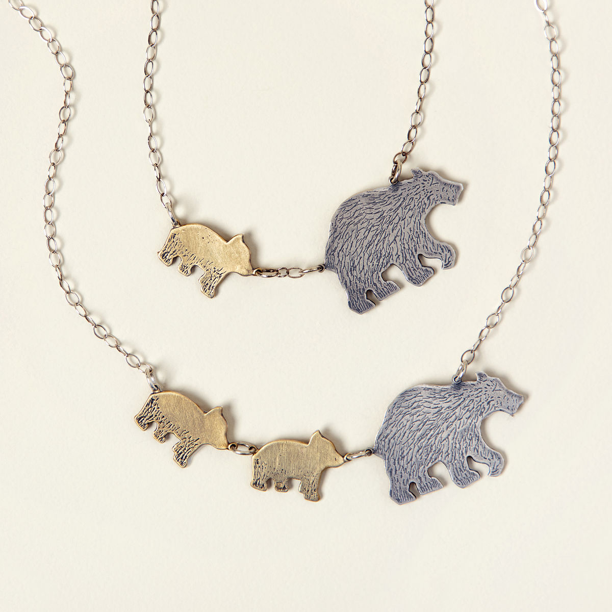 or gold necklace mama lilysnest products tag silver bar bear