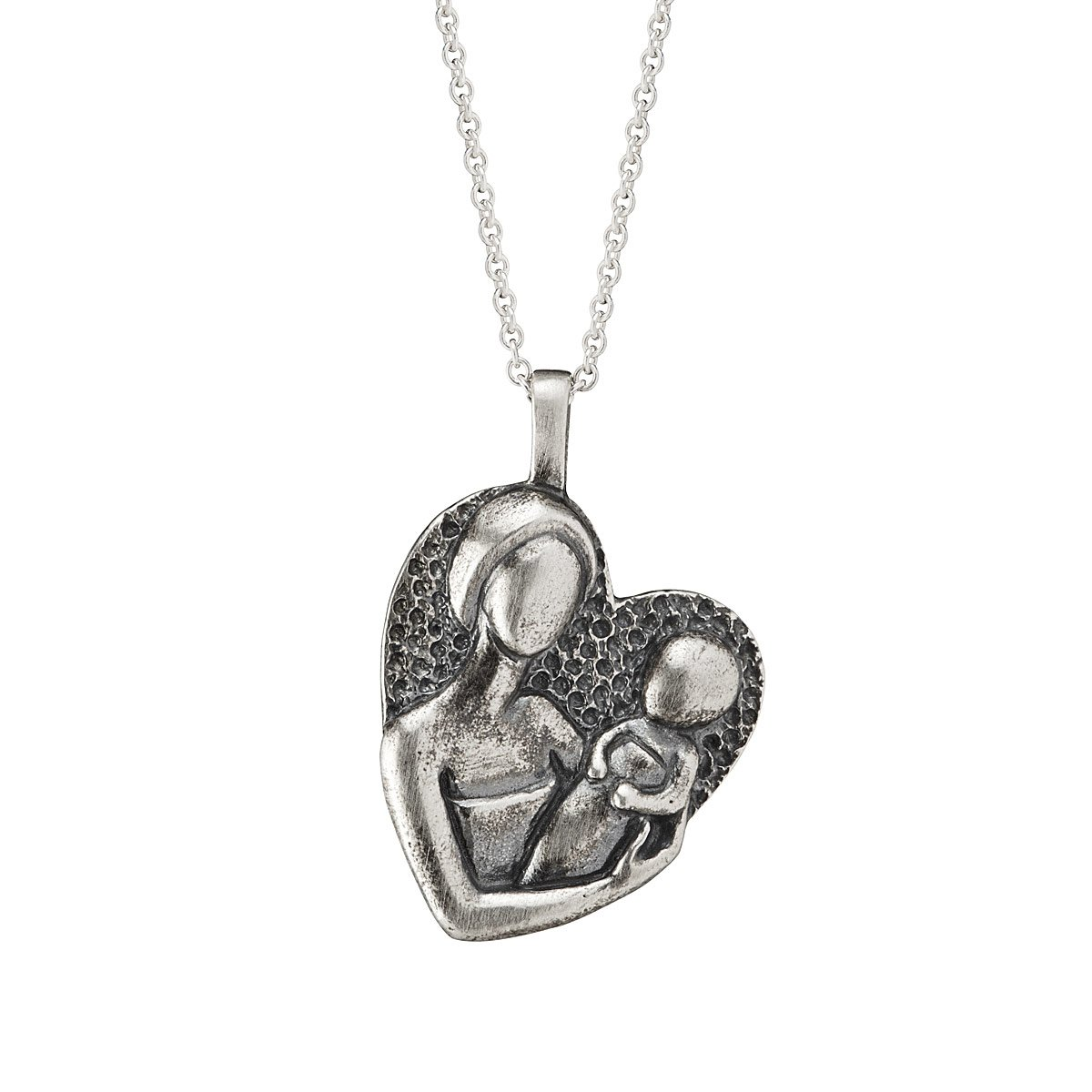 love product heart pendant silver fmge child necklace diamond mother for sterling