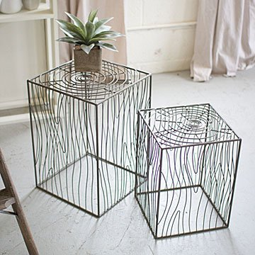 Nesting Wire Wood Grain Accent Tables - Set of 2
